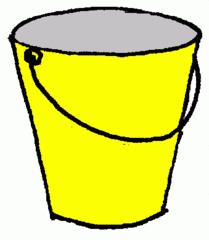 Eimer_gelb - Eimer, gelb, Illustration, Farbe, Kübel, Putzeimer, Behälter, Wassereimer, Anlaut Ei, Kübel