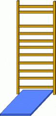 Sprossenwand#2 - Sprossenwand, Sport, Sportgerät, klettern, parallel, normal, rechter Winkel