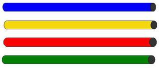 Gymnastikstäbe#2 - vier, Gymnastikstäbe, rot, blau, gelb, grün, Markierungsstäbe, Sport, Gymnastik, Gerät, turnen, Zylinder, Volumen, Oberfläche, Mathematik