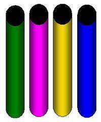 Staffelstäbe - Staffelstab, Staffelstäbe, Sport, rot, gelb, grün, blau, Zylinder, Volumen, Oberfläche, Mathematik