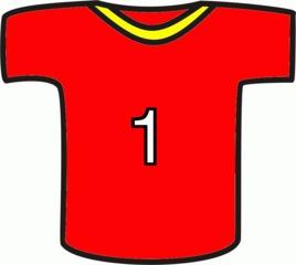 Shirt rot - Sport, Shirt, rot, Nummer, Eins, Mannschaft, Markierung, Einteilung, Trikot, Fußball, T-Shirt