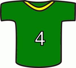 Shirt grün - Sport, Shirt, Nummer, vier, Einteilung, Markierung, Mannschaft, Trikot, Fußball, T-Shirt