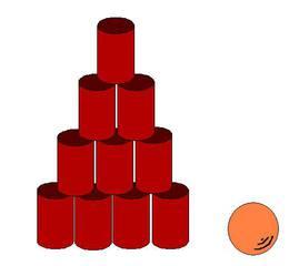 Dosenwerfen#3 - Dosen, werfen, zehn, Sport, Sportgeräte, spielen, Spiel, rund, Zylinder, Volumen, Oberfläche, Körper, Mathematik