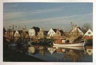 Greetsiel Hafen - Hafen, Fischerboot, Netz, Spiegelung