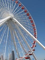 Riesenrad in Chicago - Riesenrad, Fahrgeschäft, Chicago, Stahlkonstruktion, Wahrzeichen