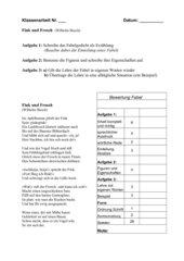Klassenarbeit Fabel mit Auswertungstabelle