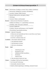 Unterrichtsschwerpunkte Klasse 7 Hauptschule