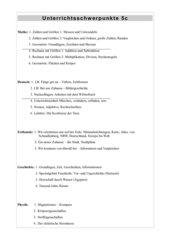 Unterrichtsschwerpunkte Klasse 5 Hauptschule