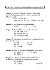 Klassenarbeit Mathe 6 Klasse