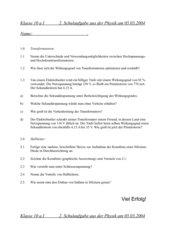2. Schulaufgabe 10. Klasse technischer Zweig mit Lösungen