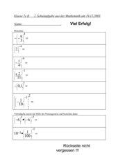 2. Schulaufgabe 7. Klasse nichttechnischer Zweig mit Lösungen