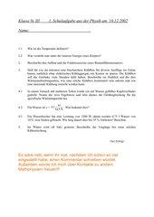 1. Schulaufgabe 9. Klasse nichttechnischer Zweig