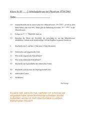 2. Schulaufgabe 9. Klasse nichttechnischer Zweig mit Lösungen