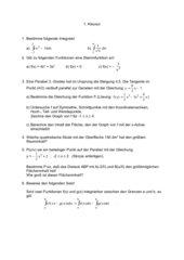 Klausur  Analysis Kurvendiskussio Integralrechnung