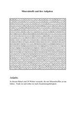 Wortsuchrätsel: Mineralstoffe und ihre Aufgaben