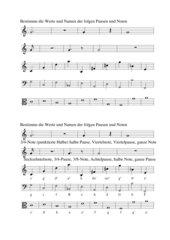 Notenwerte, Notennamen in Violin-,  Bass- und Altschlüssel