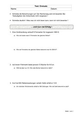 Test Dreisatz, einfacher Test als Vorbereitung zur Klassenarbeit