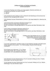 Umkehrungsaufgaben zu Fläche/Umfang von Rechteck/Quadrat