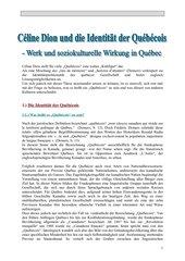 Céline Dion und die Identität der Québecois- Werk und soziokulturelle Wirkung in Québec