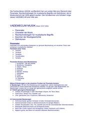 Vademecum Musik - systematische Zusammenfassung musikalischer Begriffe