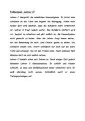 Tiefenpsychologie: Fallbeipiel: Lehrer C
