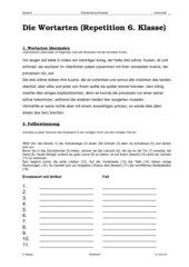 Repetition Wortarten 6. Klasse