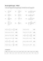 Bruchungleichungen - Rätsel