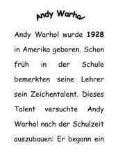 Kurze Informationstexte über Andy Warhol