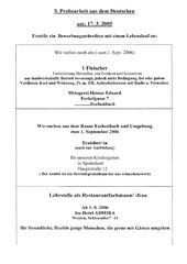3. Probearbeit aus dem Deutschen - Bewerbungsschreiben