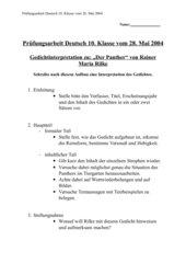 Prüfungsarbeit Deutsch 10. Klasse