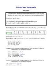 Zahlenfolge (mit Rechenregeln)
