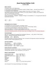 Formel-Editor (bis Word 2003) - Kurzanleitung