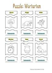 Dreiteiliges Puzzle zu Wortarten