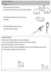 Leseverständnistest Haustiere