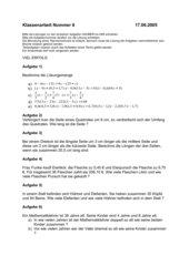 Klassenarbeit Gleichungen
