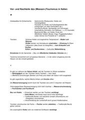 Vor- und Nachteile des Massentourismus (in Italien)