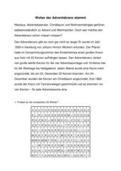 Nachschrifttext mit Übungen, Thema Adventskranz