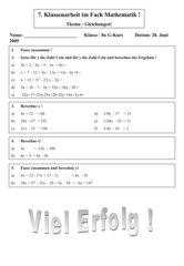 Klassenarbeit einfache Gleichungen