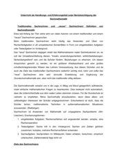 Unterricht als Handlungs- und Erfahrungsfeld unter Berücksichtigung der Sachmathematik