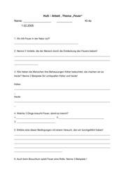 HuS Test/Arbeit Thema: Feuer ;  Klasse 4