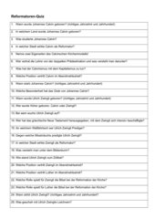 Reformatoren-Quiz Calvin und Zwingli Gymnasium Kl. 8