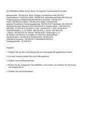 Komplexaufgabe Buchführung von Inventar bis Schlussbilanz