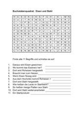 Buchstabenquadrat: Von Eisen und Stahl
