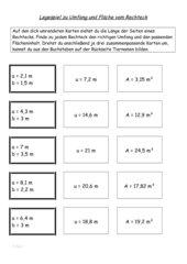 Legespiel : Fläche und Umfang v. Rechteck