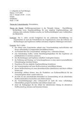 Einführungsexperiment in die Thematik Gärung, Stufe 11