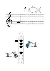Griffbild für Blockflöte Ton f'