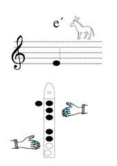 Griffbild für Blockflöte Ton e'