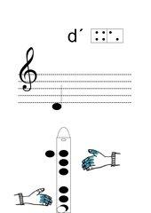 Griffbild für Blockflöte Ton d'