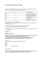 Unterrichtseinheit zum Thema Werbung (7. Klasse)