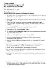 19 schwierige Fragen zur Geschichte BRD/DDR